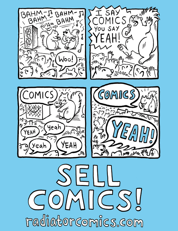 Sell Comics! Postcard by Cara Bean