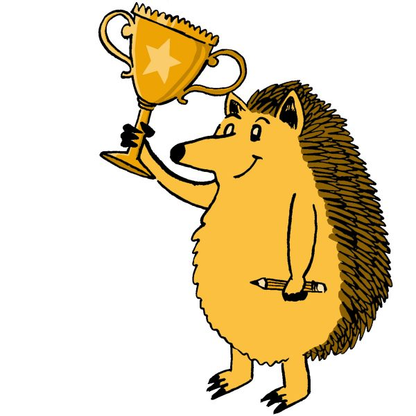 a hedgehog holding a trophy and a pencil
