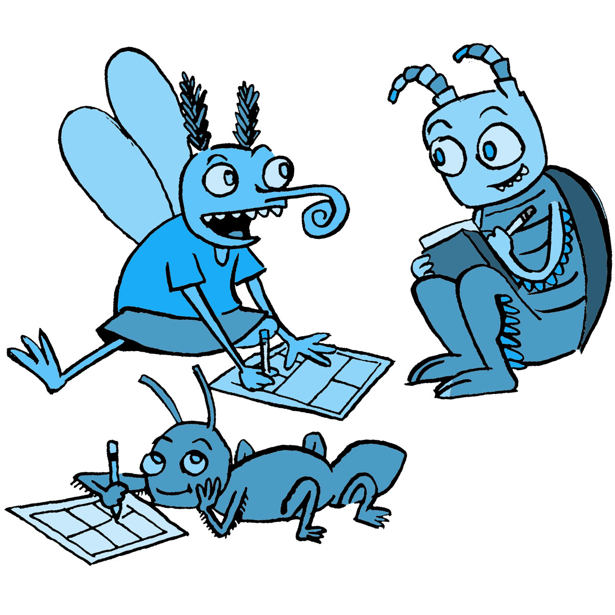 blue insects drawing and chatting with each other