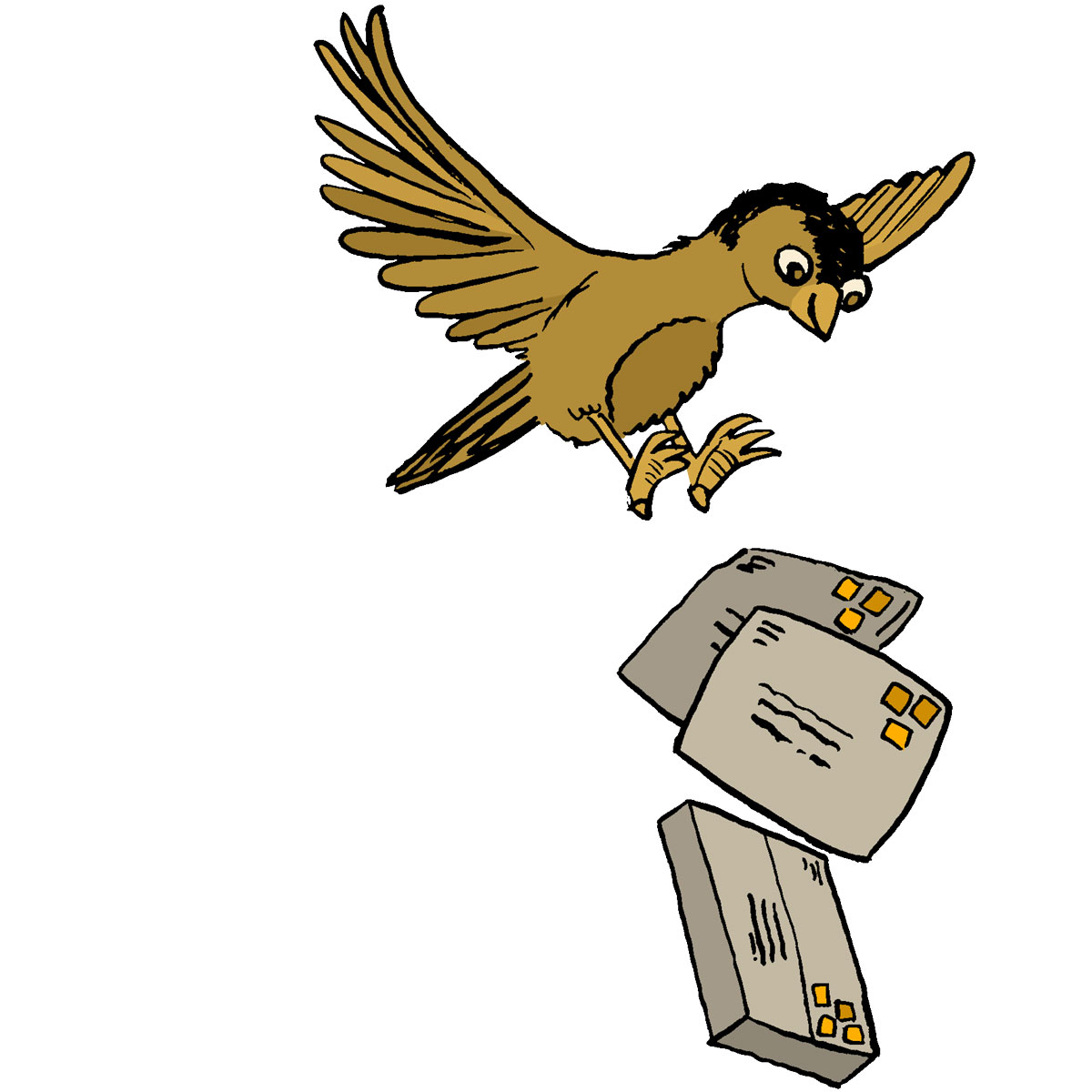 a brown bird delivering three packages