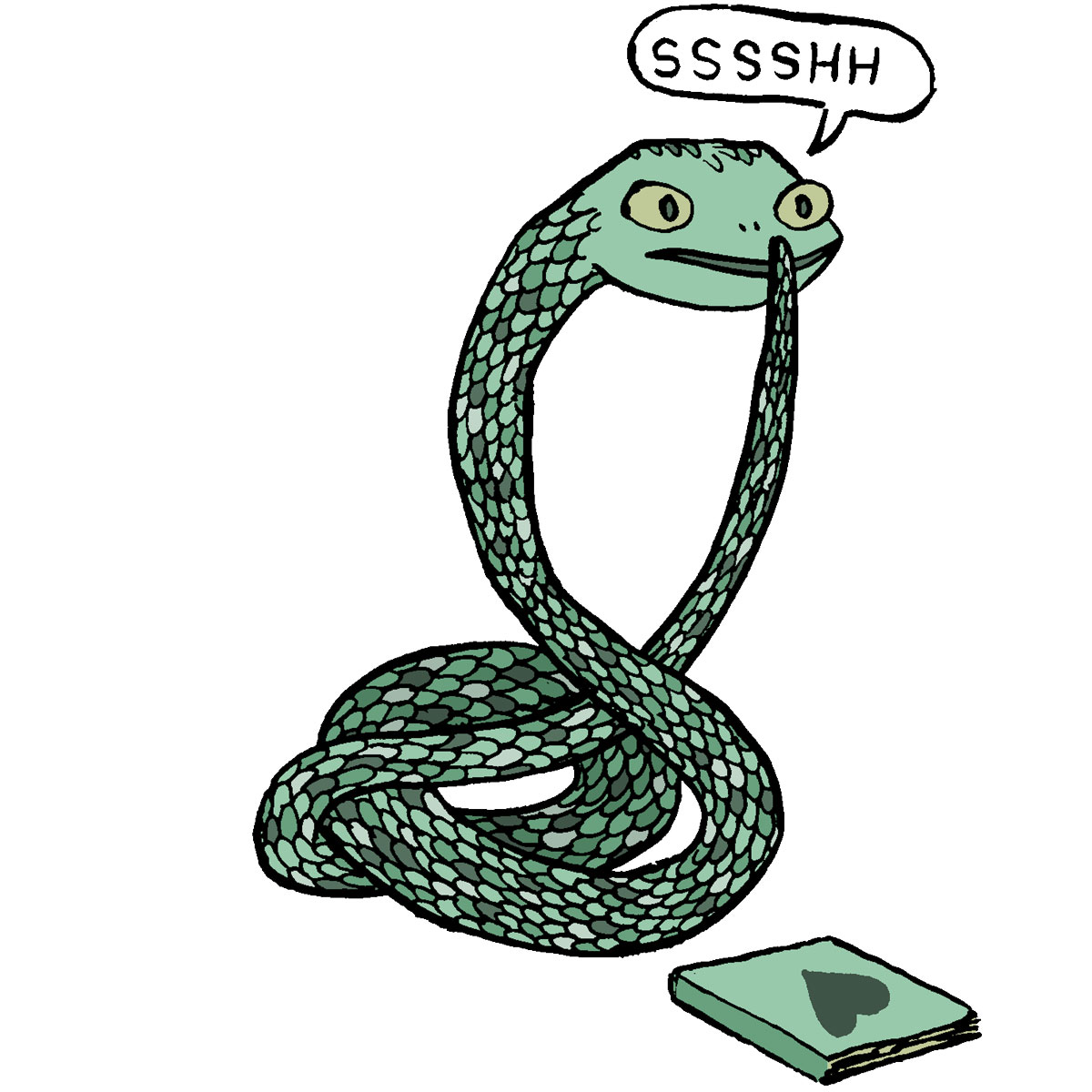 a snake librarian shushing you
