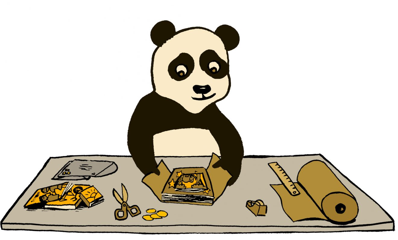 a panda packing up a comics order