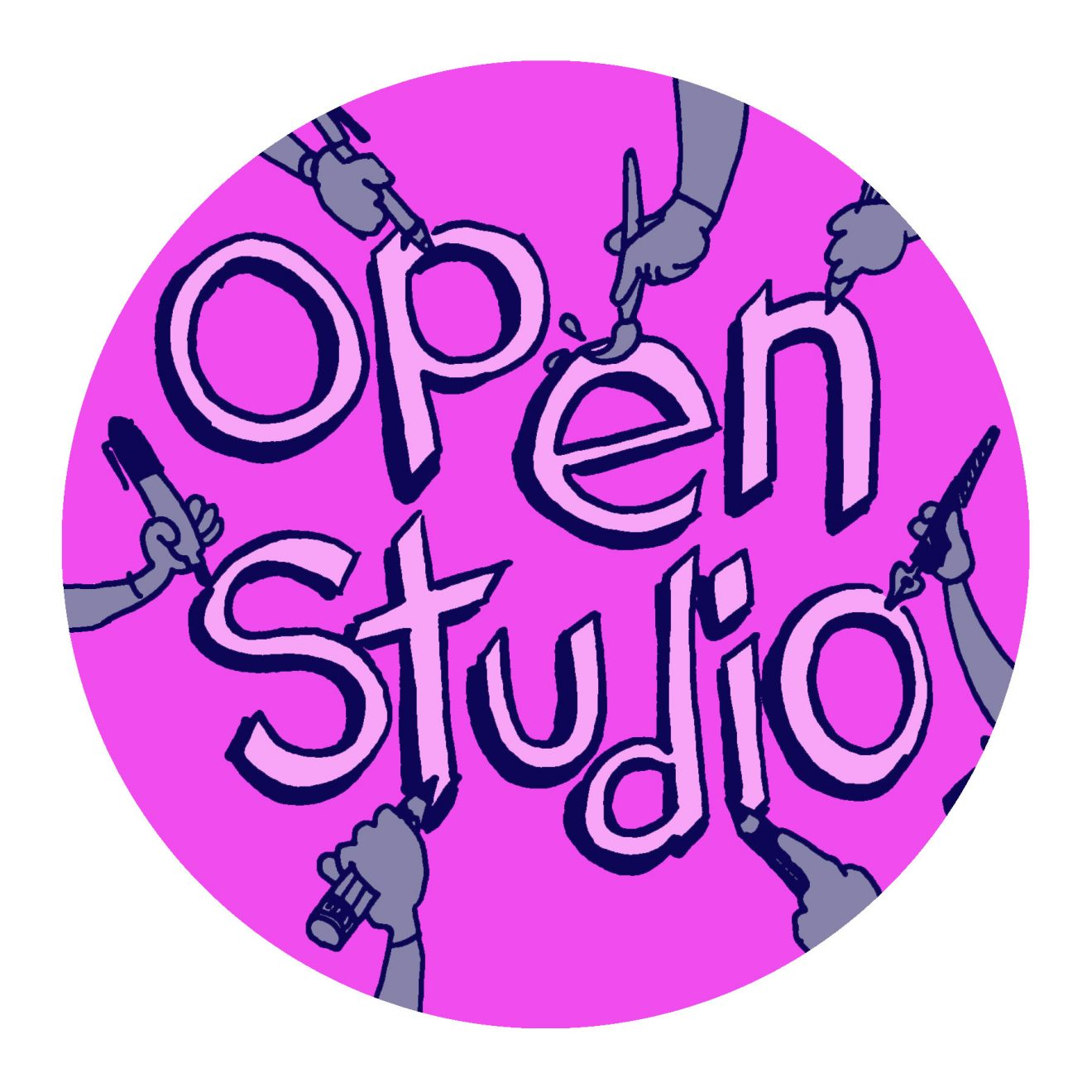 """many hands drawing the words """"open studio"""""""