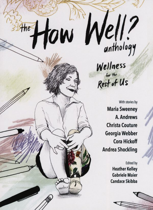 comic cover, a woman with a prosthetic leg sits surrounded by drawing utensils and colorful doodles